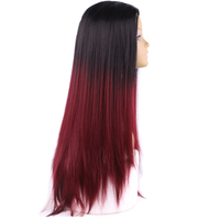 Black To Red Ombre Synthetic Wigs For Black Women Ombre Body Wave Heat Resistant Freetress Hair