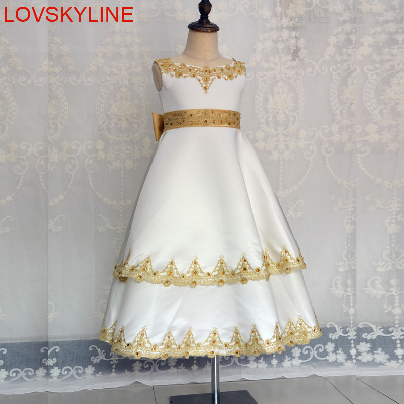 New lace flower girl dresses for wedding 2018 gold lace kids evening new lace flower girl dresses for wedding 2018 gold lace kids evening dress holy communion dresses for girls pageant gowns mightylinksfo