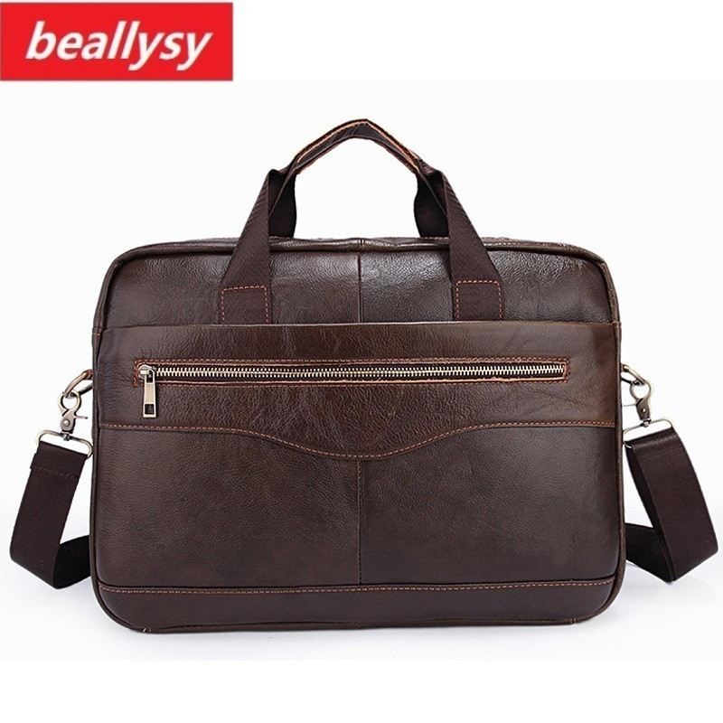 купить New Brand Genuine Cowhide Leather Mens Business Briefcase Laptop Bags Men's Travel Bag Portfolio Men Shoulder Bag Man Handbag по цене 3328.48 рублей