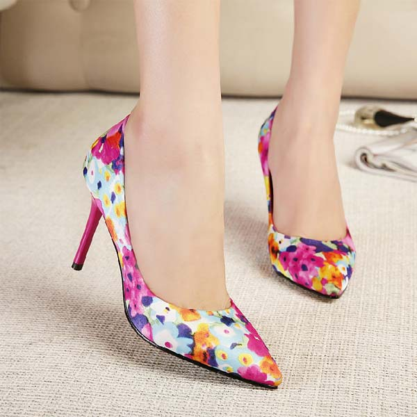 54298547daea new 2014 women pumps sexy high heels fashion floral print party shoes thin heels  pointed toe summer shoes sexy