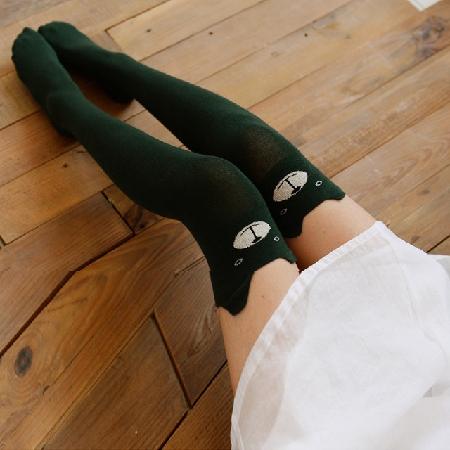 0f0d227ca Autumn Winter Thigh High Stockings Women Female Compression Stocking Cat  Dog High Knee Socks Fashion Knitted