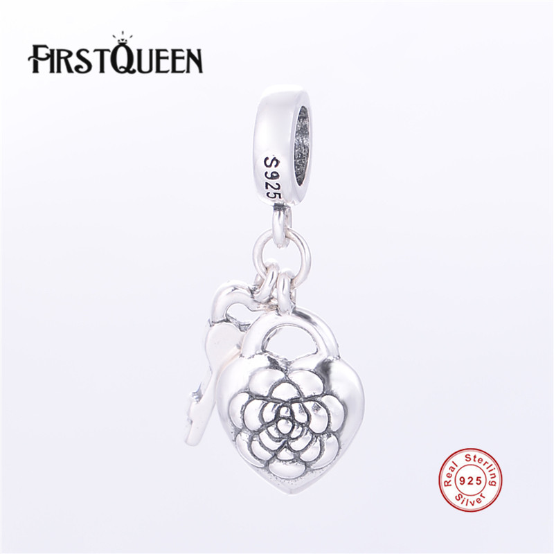 FirstQueen 925 Silver Jewelry Flower Love Locket Charm Pendants Fits Brand Bracelets Bangles Original Fine Jewelry Free Shipping