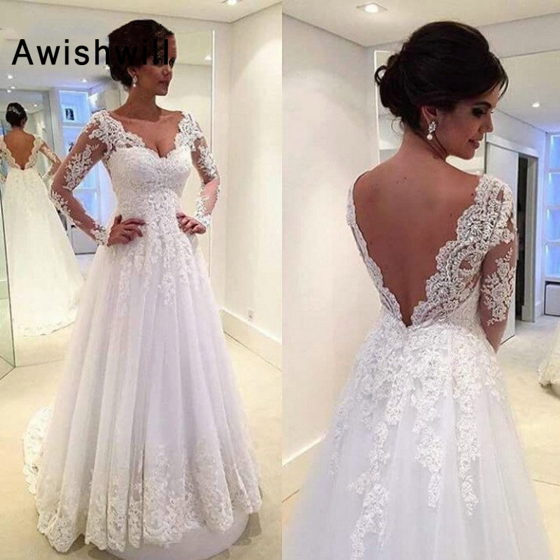 Vestido De Noiva 2020 Elegant Bridal Gown Plus Size A-Line Sexy V Neck Lace Appliques Long Sleeves Backless Wedding Dresses