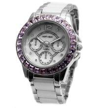 Женские керамические часы браслет с фиолетовыми кристаллами