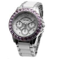 Alexis brand Water Resist White Dial Ceramic Violet Crystal Bracelet Watch Women 2017 ladies watches montre femme horloge dames