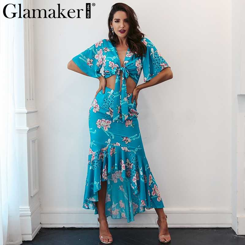 Glamaker boho Dress ... Glamaker Flower print boho summer dress Women two piece ruffle maxi  dress beach vestidos Irregular sexy ...