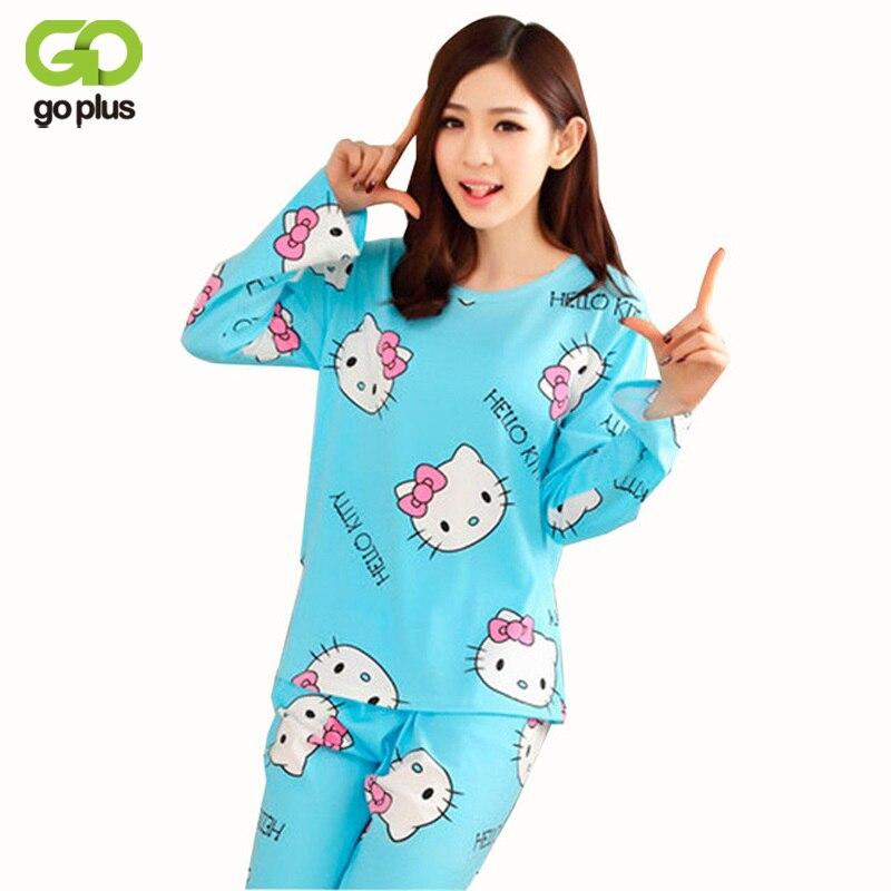 GOPLUS Women Pajamas Hello Kitty Sleepwear Sets Soft Pajamas Women Nightgown Fashion Style Pajama Sets Pyjama
