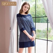 Qianxiu Для женщин 3/4 рукавом ночная рубашка в полоску пижамы свободные Повседневное Ночная сорочка ночная рубашка