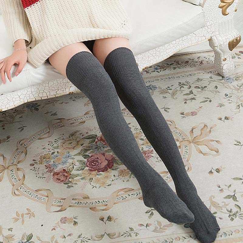 ใหม่แฟชั่นผู้หญิงมากกว่าเข่าถุงเท้ายาว Boot ถักต้นขาสูงสีดำสีเทาถุงน่องสุภาพสตรีอุปกรณ์เสริม