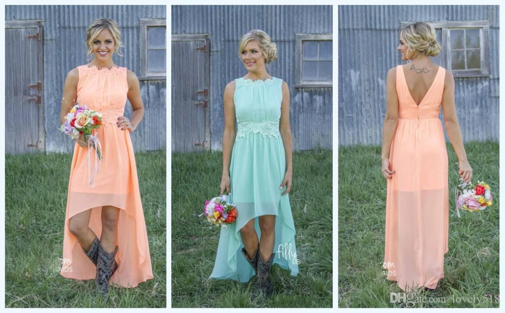 2016 Mint Orange Country Bridesmaid Dresses Under 100 Knee Length Hi Lo Chiffon Beach Short Party 2017f231 In From