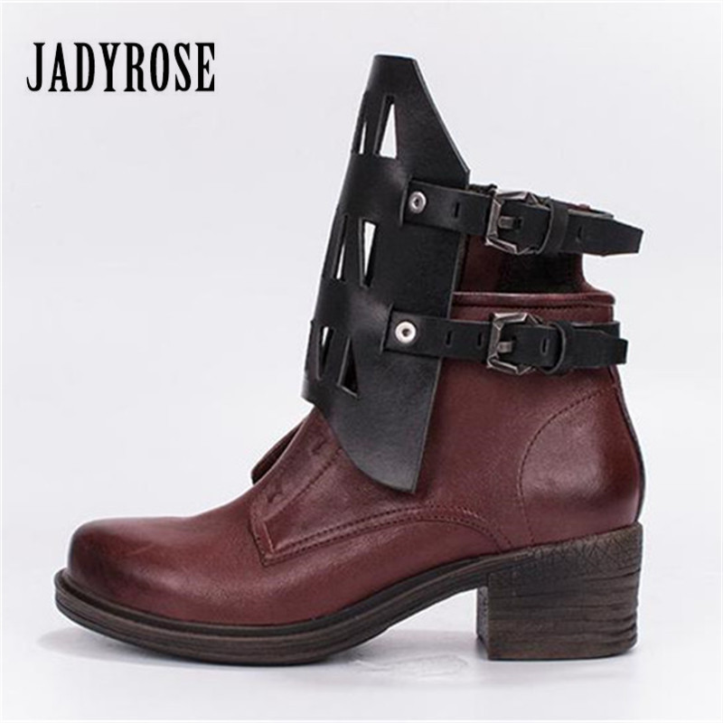 Jady Rose Designer Hollow Out Women Ankle Boots Genuine Leather Short Booties Autumn Winter Botas Mujer Female Martin Boots