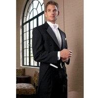 Новый Для Мужчин's Костюмы Новый Для мужчин костюм черный Фрак пиджак жениха + Брюки для девочек + галстук бабочка жилет Пользовательские Для