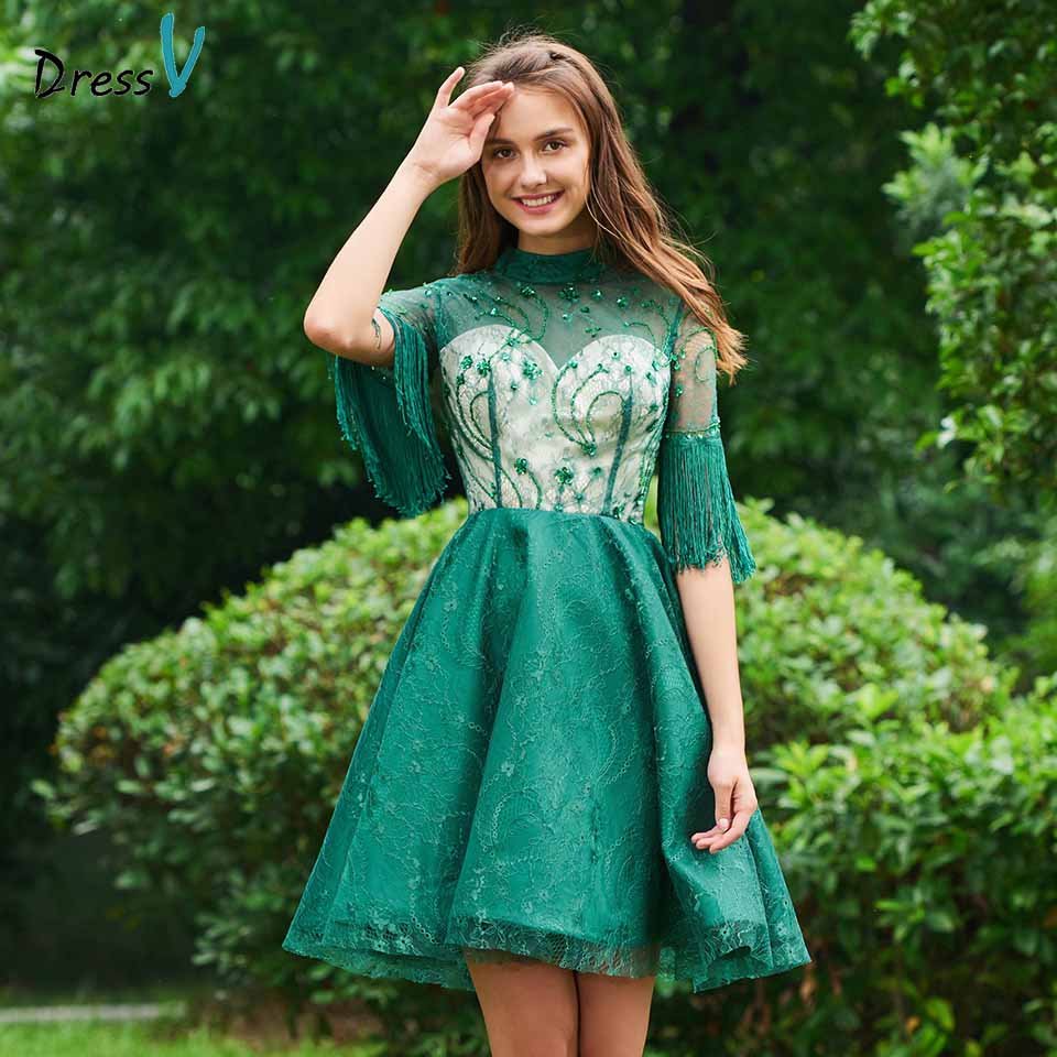 Dressv   cocktail     dress   elegant lace high neck beading half sleeves tassel short mini wedding party formal   dress     cocktail     dresses