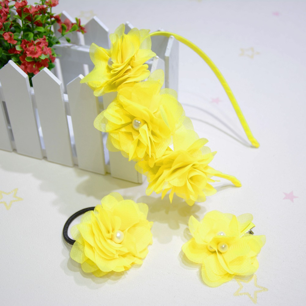 Hot Fashion Hair Accessories Headband Yellow Flower With Pearl Style