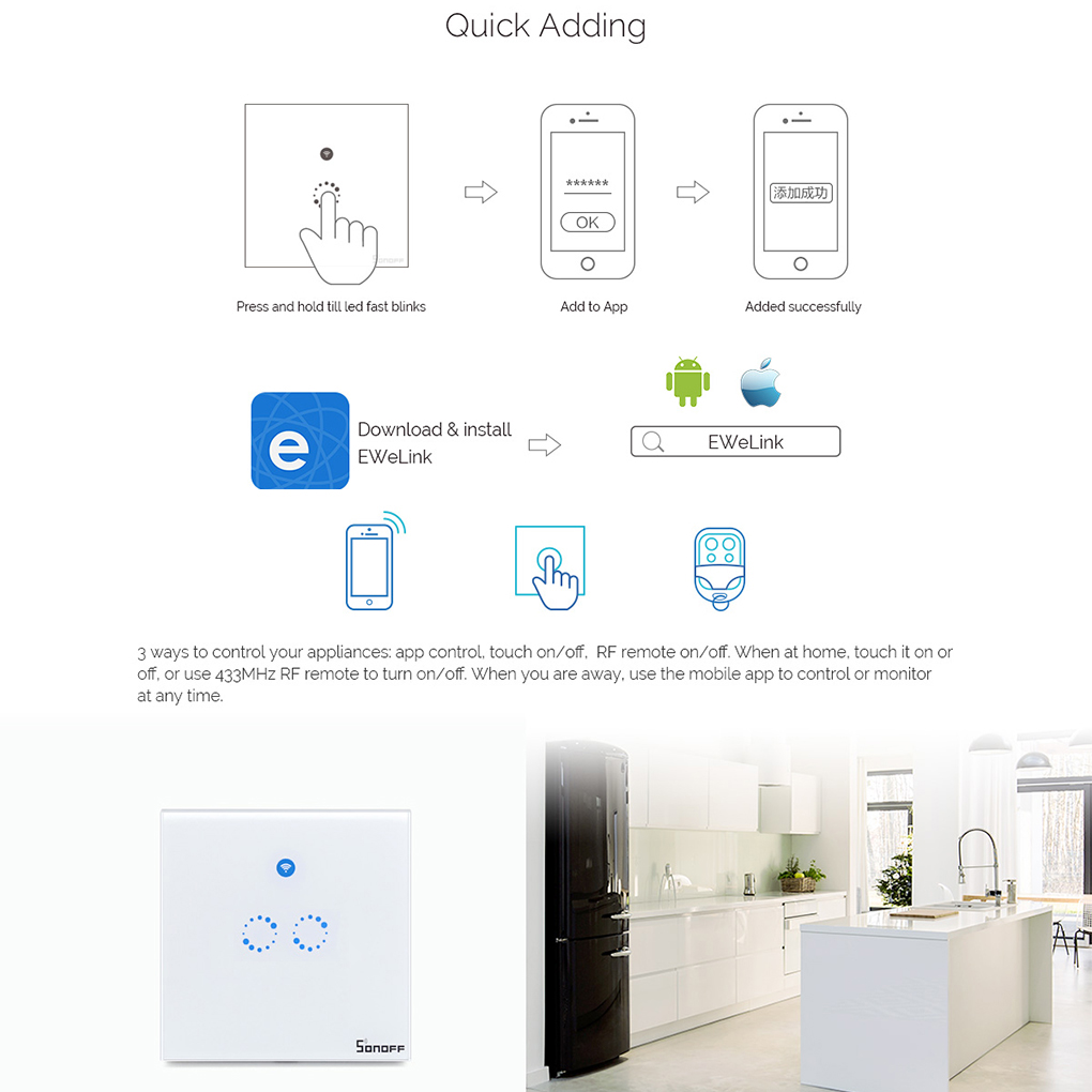 small resolution of sonoff t1 smart switch panel eu 1 2 gang wireless wall smart touch on off plate works with alexa nest in home automation modules from consumer electronics