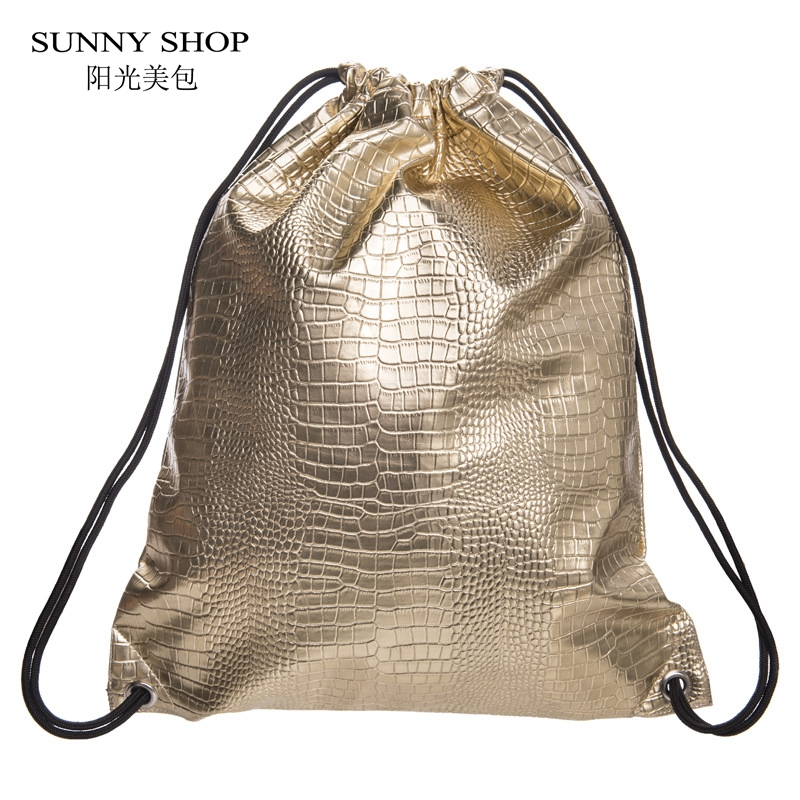 Sunny Shop Fashion Skull Crocodile Pattern Drawstring Bag Women Pu Leather Drawstring Backpack Sack Bag Girls Large Storage