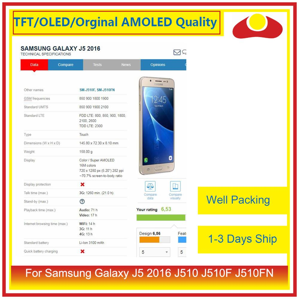 Image 2 - 50Pcs/lot DHL For Samsung Galaxy J5 2016 J510FN J510F J510G LCD Display With Touch Screen Digitizer Panel Pantalla Complete-in Mobile Phone LCD Screens from Cellphones & Telecommunications