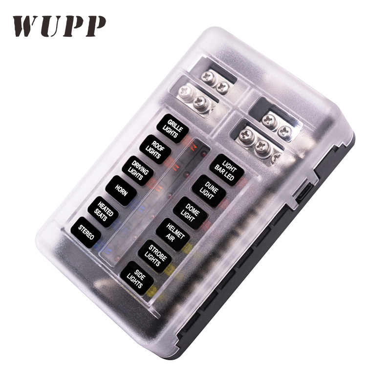 wupp car blade fuse block independent 12 ways fuse box 12 circuit with  negative bus led