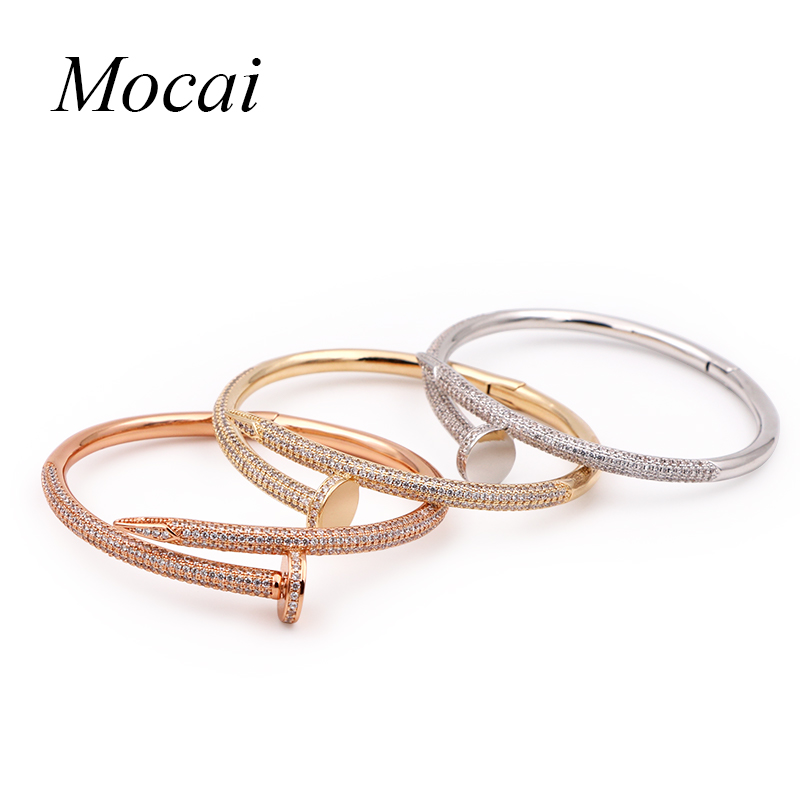 Fashion Nail Bracelet for Woman Zircon Paved Round Silver Gold Color Female Bracelets Bangles Lowest Price