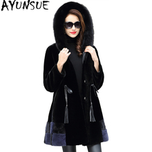 AYUNSUE Real Fur Coat Natural Fur Women Sheep Shearling Jackets With Genuine Fox Fur Collar Hooded Winter Jackets HQ18-ZZD1820C