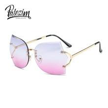 2017 Luxury Rimless Sunglasses font b Women b font Oversize Cat Eye font b Fashion b