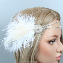 С фабрики 1920-х Гэтсби Хлопушка головной убор кристалл невесты головной убор цвета слоновой кости перо головная повязка свадебная корона HS10271