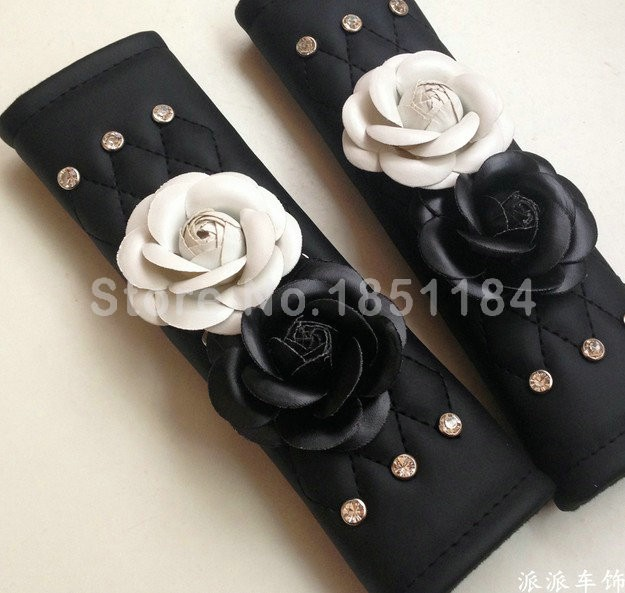 Camellia-Flower-Rhinestone-Leather-Car-Seat-Safety-Belt-Covers-2pcs-White-Black-l1