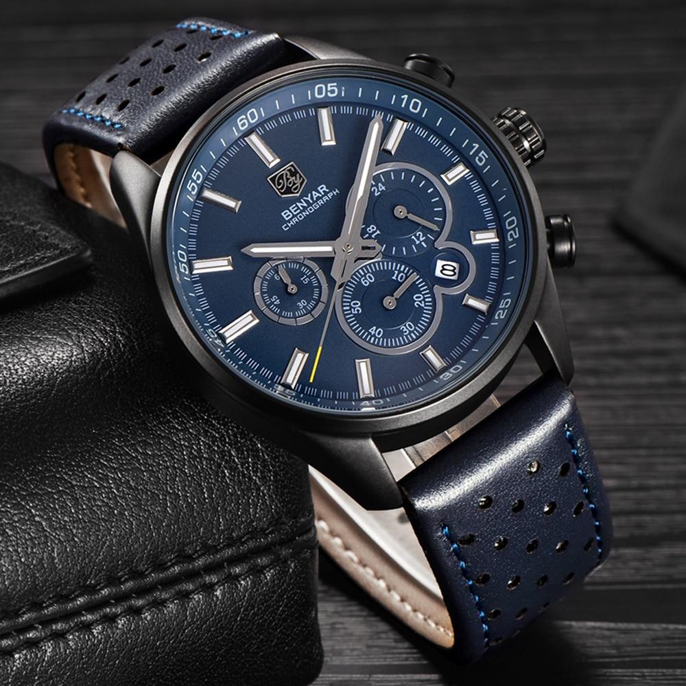 Reloj Hombre 2018 BENYAR Fashion Chronograph Sport Mens Watches Top Brand Luxury Military Quartz Watch Clock Relogio Masculino