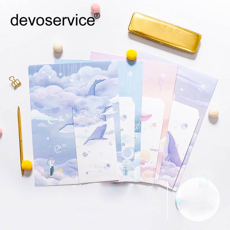 9pcs/Set 3 Envelops+6 Writting Paper Envelope Letter Writing Paper Letter Sets For Postcard Kids Gift School Stationer Supplies