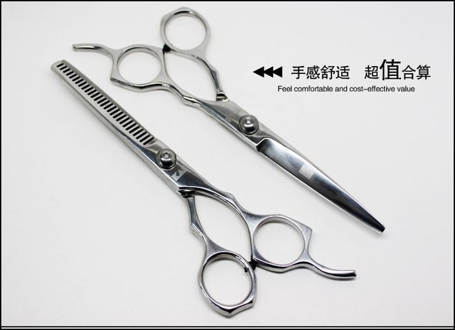 """free shipping, 6"""" Barber scissors, flat cut+thinning scissors, a family of four loading combinations BN-C3DD24F5"""