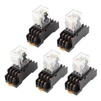 5Pcs AC110 120V Coil 4PDT 14 Pin Red LED Power Relay W Socket