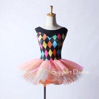 Support Dance Colorful Print Ballet Tutu Dress Kids Girls Adult Women Dance Costume DB207