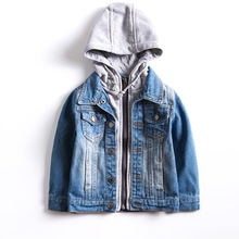 Children Outerwear Denim Jackets Hooded Baby-Boys Warm Windproof for 3-10-Years-Old