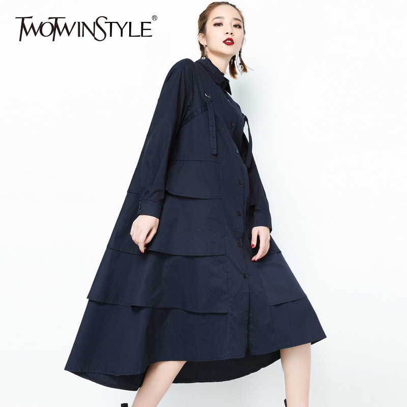 TWOTWINSTYLE 2018 Black Dress Female Patchwork More Layer Loose Long Sleeve Womens Dresses Of The big Size Fashion Clothing New