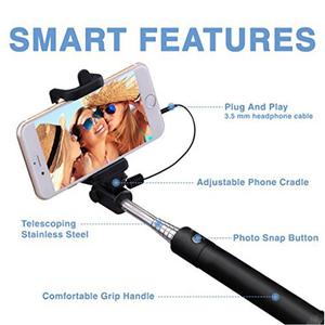 Image 2 - Ascromy Extendable Wired Handheld Selfie Stick Selfiestick 3.5mm Aux Cable Monopod For iPhone iOS Android Cell Phone Accessories