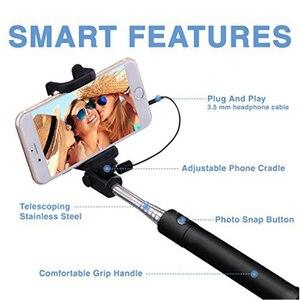 Image 2 - Ascromy wysuwane przewodowy ręczny kij do Selfie Selfiestick 3.5mm przewód AUX monopod dla iPhonów iOS telefon komórkowy z Androidem akcesoria