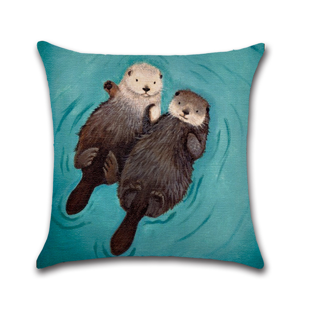 Romantic Otter Printed Pillow Case Cotton Linen Cute Otter Pillowcase Decorative Pillowcases Cover funda de almohada