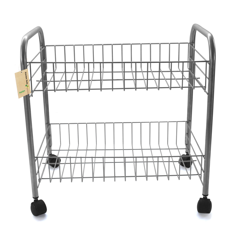 Finether 2 Tier Wire Rolling Cart Shelf Shelving Rack Shoes Books With Wheels Laundry Storage Basket In Holders Racks From