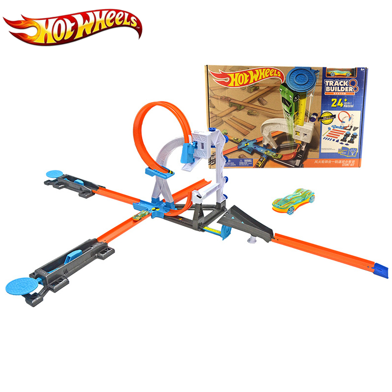 2017 Hot wheels 4 in 1 Super Track Pack Model Cars Kids Pvc Slot Car Toys Hot wheels Car Models Gift For Kids DIY Toys DLF28