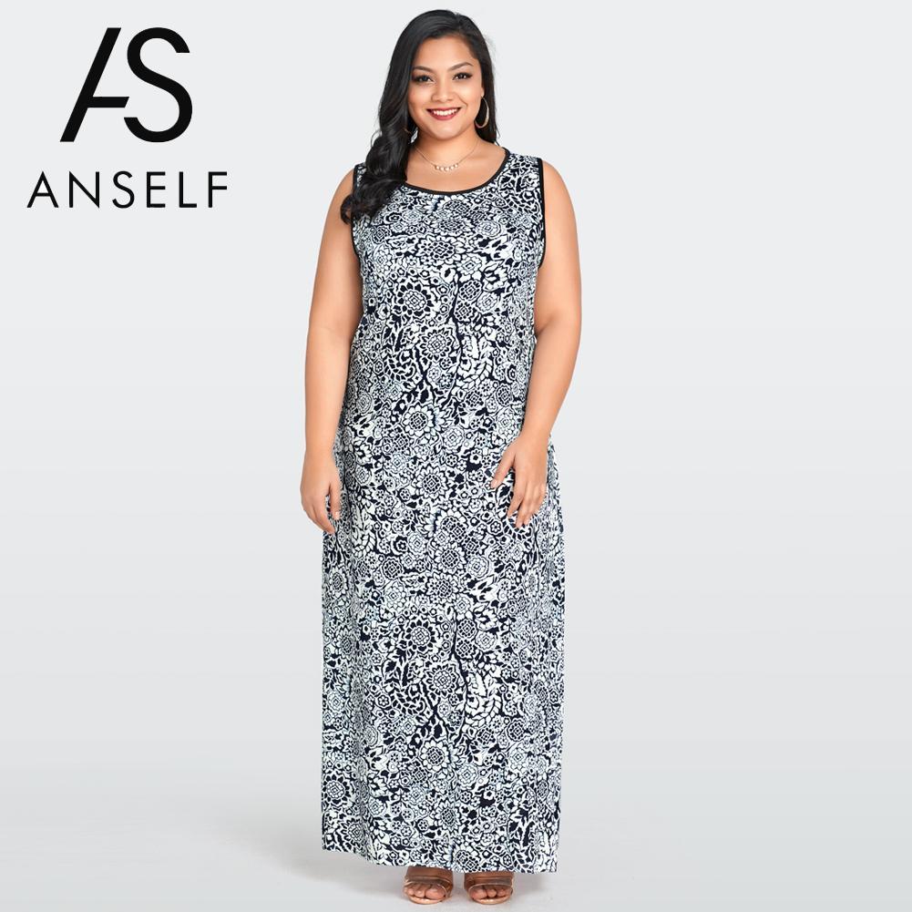 US $15.05 38% OFF|3XL Plus Size Vintage Long Dress Women Floral Print Maxi  Bodycon Dresses O Neck Sleeveless Tank Dress female Summer Beach Robe-in ...