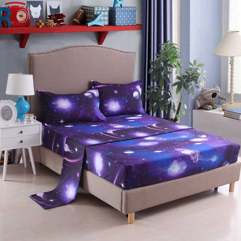 3D Star Starry sky Space Galaxy Bedding Sets Flat sheet+Fitted sheet+Pillowcase Bed set fitted sets Twin Full Queen King 3/4pcs