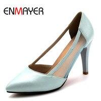 ENMAYER женские Модные Летние босоножки каблук-стилет острым Насосы Однотонная одежда милая обувь на выход розовый сине-белые