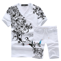 Summer Men tshirt Short Sleeve and Shorts Asian Size S 5XL Mens Two Piece set Cotton 95%