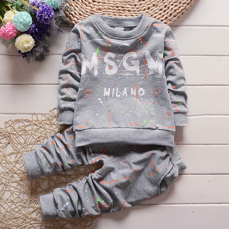 New Boys Clothing Set Spring and Autumn Children's Suit Letters Long Sleeve T-Shirt + Pants 2 Piece Sports Set Girls Clothes