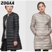 ZOGAA Womens Fashion Solid Long Cotton Coat Winter Parkas Jacket For Women Single Breasted Outerwear S-3XL