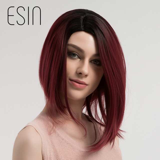 Esin Ombre Dark Root Wine Red Burgundy Shoulder Length Synthetic