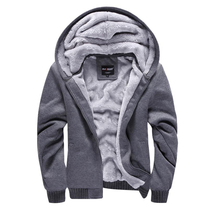 New Casual Hoodies Sweateshirts Men Velvet Zipper Warm Poleron Hombre Fashion Loose Parkas Streetwear Thick Solid Hoodie Men