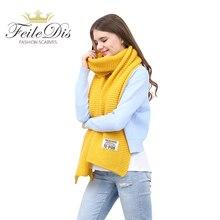 [FEILEDIS] женские зимние шарфы и повязки Красный кашемировый вязаный шарф для женщин большой шарф FD197