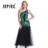 Темно-зеленый Для женщин дамы рукавов одно плечо стиле блестящие Блёстки русалки Vestidos Макси Вечернее красивое платье длинное