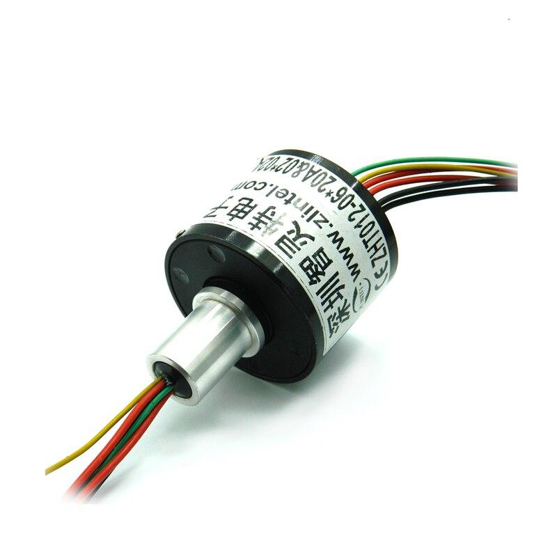 1 шт. 6 каналов 20A FSH микро скольжения кольцо OD 12 мм 6 проводов Электрический проводящее вращательное соединение мини коллектор Sliprings разъем